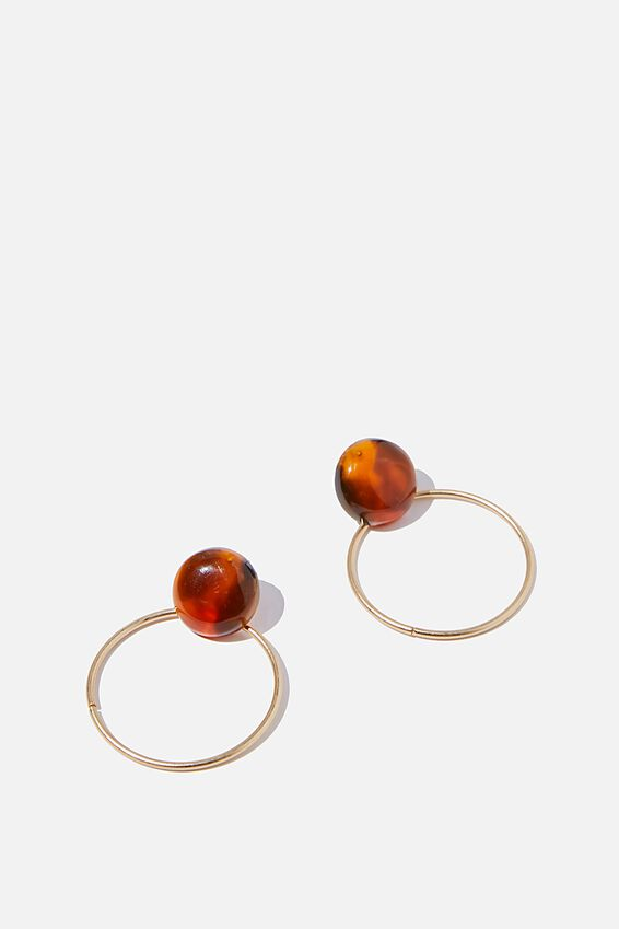 Spice Market Thin Loop Earring, AMBER/ MATTE GOLD