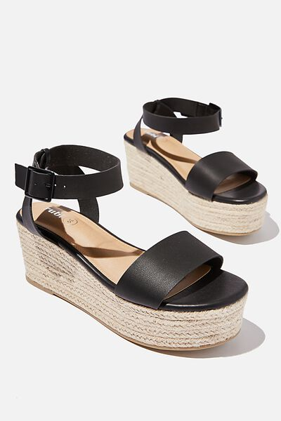 Crystal Espadrille Wedge, BLACK