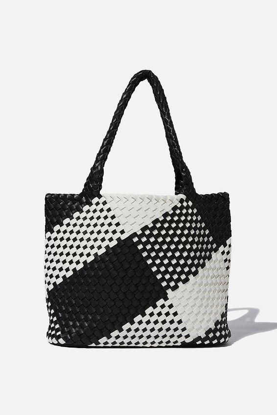 Two Tone Woven Tote Bag, BLACK /WHITE
