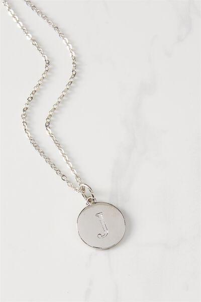 Letter Flat Pendant Necklace, SILVER - J