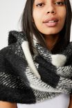 Poppy Brushed Tassel Scarf, BLACK AND WHITE CHECK