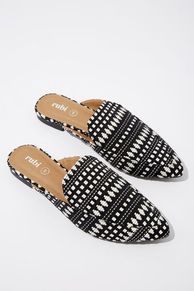 Petra Point Mule, BLACK WHITE WOVEN