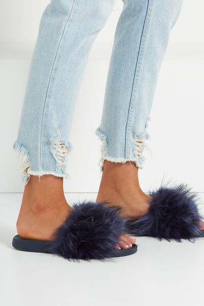 Wild Slide, NAVY FAUX FUR