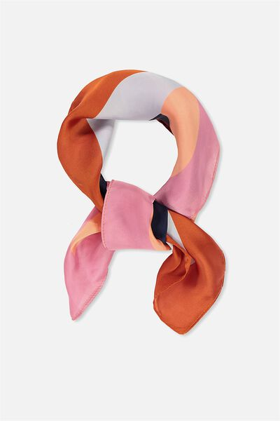 Soho Satin Scarf, RUST MULTI SPLICE