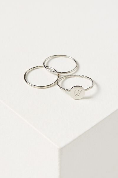 Letter Pendant Ring, SILVER - W