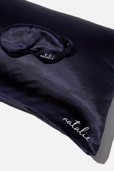 Personalised Satin Eyemask & Pillow Slip Set, NAVY BABY