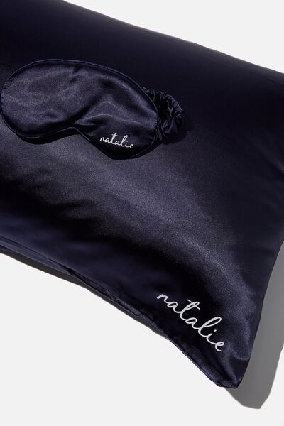 Personalised Satin Eyemask & Pillow Slip Set, NAVY BABY