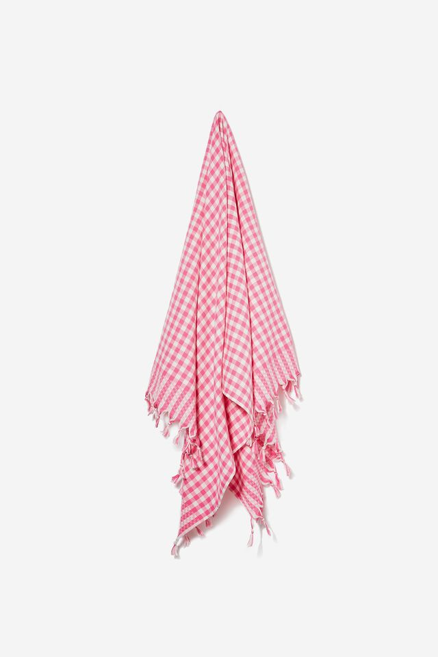 Whitehaven Lightweight Towel, PINK MILLY MICRO GINGHAM