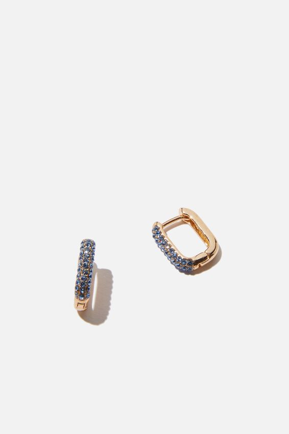 Ear Party Luxe Huggie Hoops, OVAL BLUE PAVE