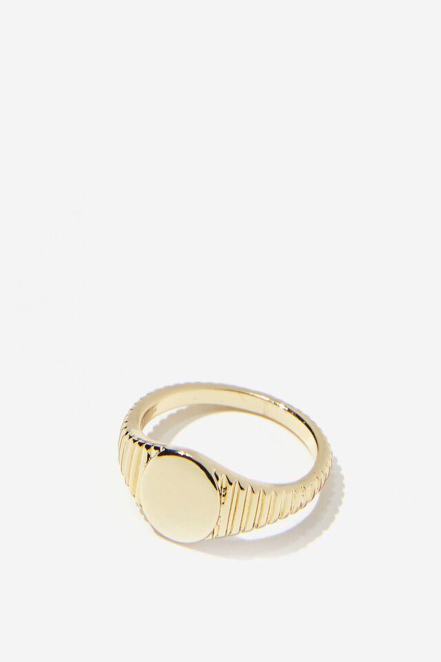 Premium Single Ring, GOLD PLATED CLASSIC SIGNET