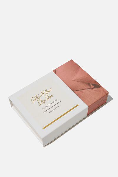 Satin Pillow Slip Duo, CLAY HAMMERED SATIN