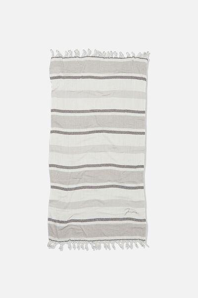Personalised Coogee Lightweight Towel, BLACK DECK CHAIR STRIPE