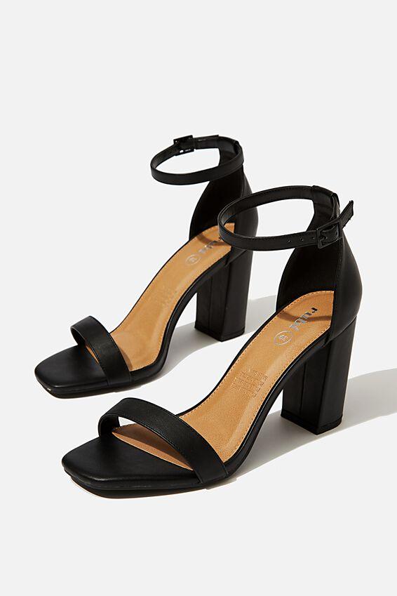 San Square Toe Heel, BLACK SMOOTH
