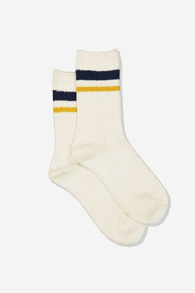 Hiking Sock, CREAM MUSTARD/NAVY STRIPE