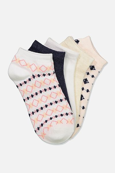 5Pk Ankle Sock, BLUSH/ARGYLE
