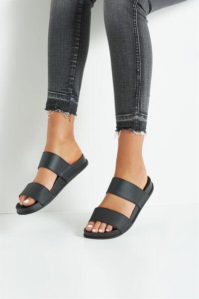 Baillie Double Strap Slide, BLACK