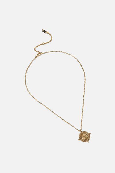 Premium Pendant Necklace, GOLD PLATED COMPASS