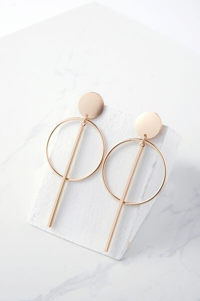 Metal Double Hoop Statement Earring, GOLD