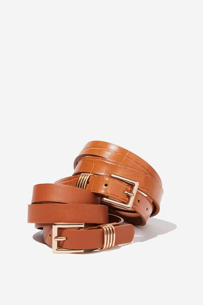 2 Pack Square Buckle Belt, TAN TEXTURE