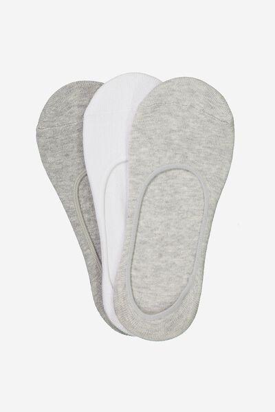 3Pk Low Cut Sock, GREY MIX