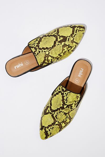 Souk Pointed Slipper Mule, YELLOW NATURAL PRINT PU
