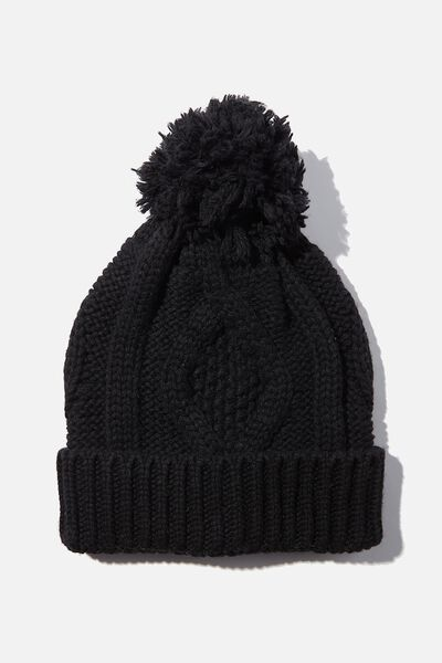 Heritage Knit Pom Pom Beanie, BLACK
