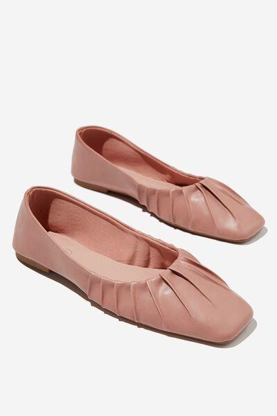 Square Toe Ballet, ROSE PU PLEAT