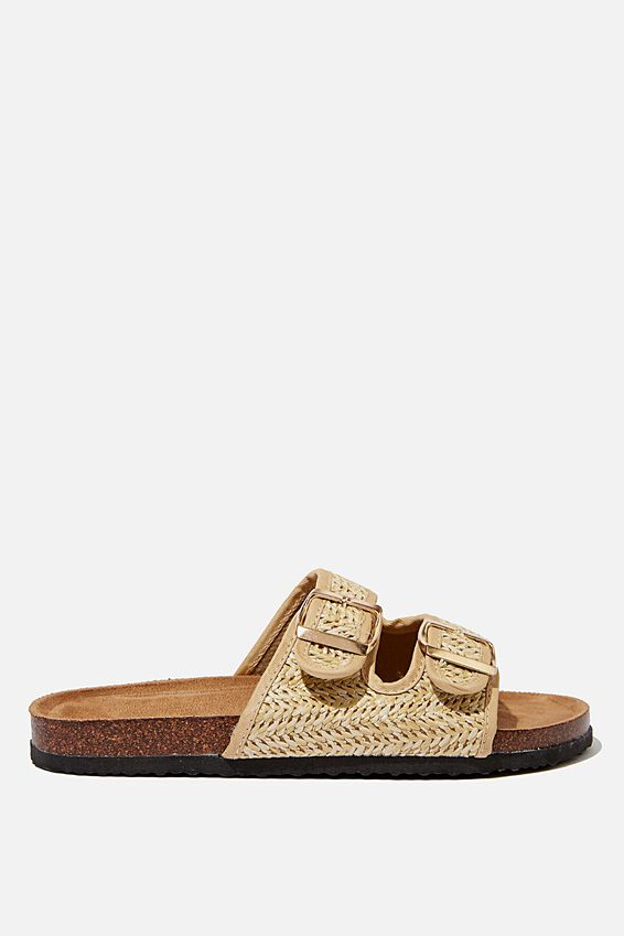 Rex Double Buckle Slide, RAFFIA SAND