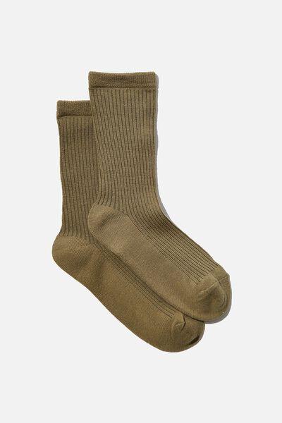 Everyday Rib Sock, KHAKI