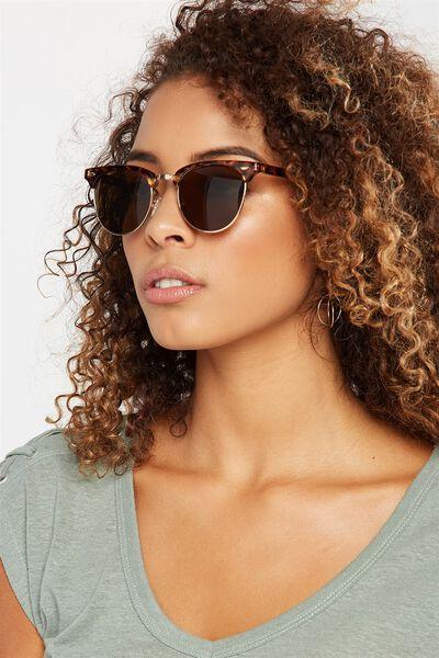 Cassie Mini Metal Sunglasses, TORT