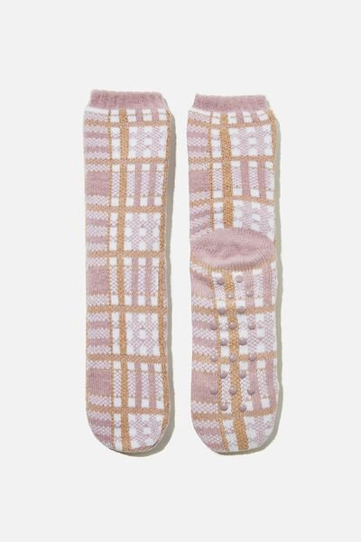 Coc Loungin Round Sock, NORWAY CHECK SOFT MAUVE