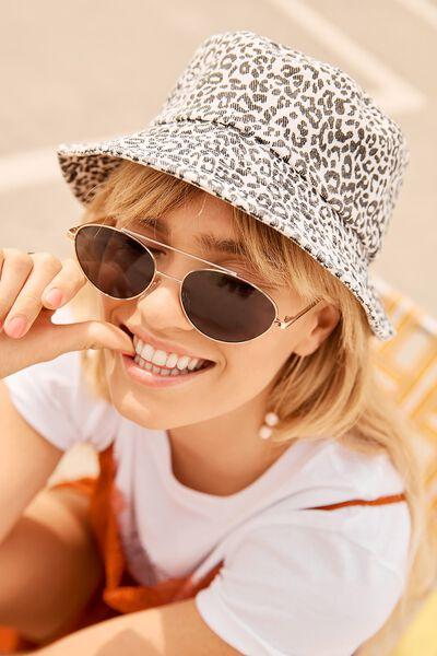 Bella Bucket Hat, WHITE/BLACK LEOPARD PRINT