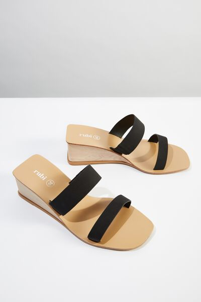 Emilia Double Strap Low Wedge, BLACK SMOOTH