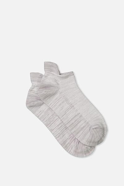 Mesh Ankle Tab Sock, GREY SPACE DYE
