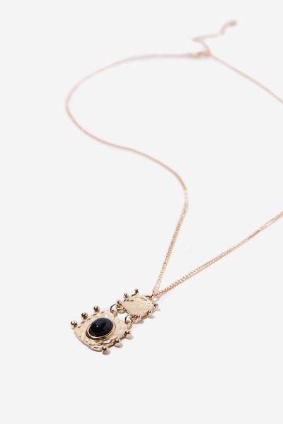 Aruba Boho Necklace, GOLD/BLACK