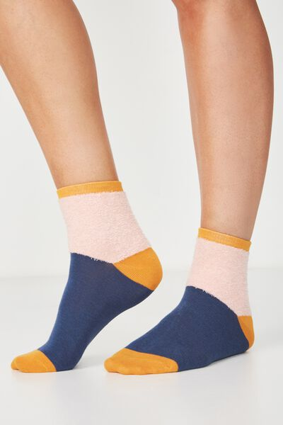 Fun Sock, PINK/NAVY COLOUR BLOCK