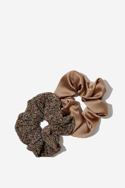 2Pk Scrunchie, SILVER SAGE PLEATED FLORAL