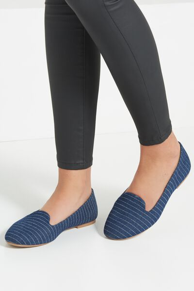 Sophia Slipper, NAVY PIN STRIPE