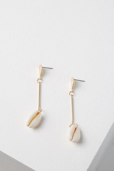 Palm Beach Earring, GOLD/SHELL