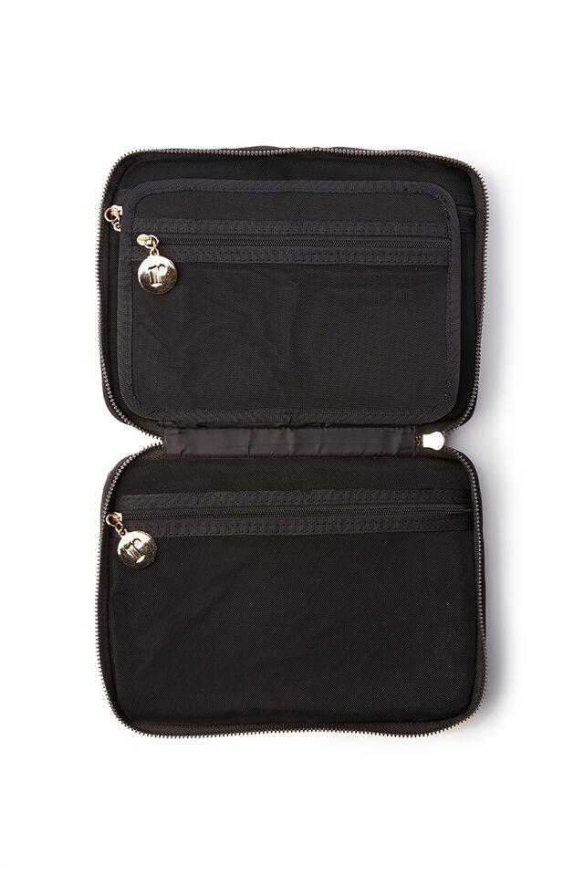 Personalised Single Storey Cosmetic Case, BLACK/GOLD