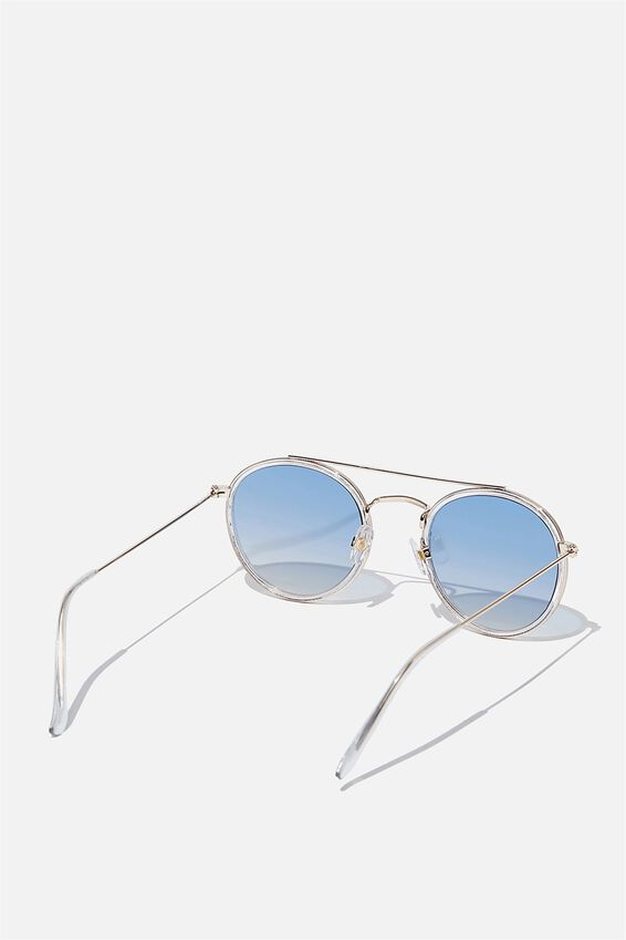 Demi Top Bar Metal Sunglasses, CLEAR BLUE