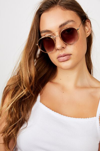 Demi Top Bar Metal Sunglasses, MUSTARD