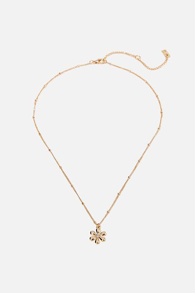 Premium Pendant Necklace, GOLD PLATED DAISY