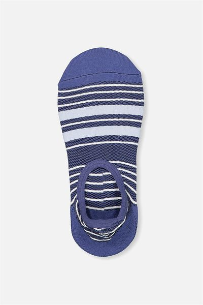 Invisible Mesh Sock, BLUE/WHITE STRIPE
