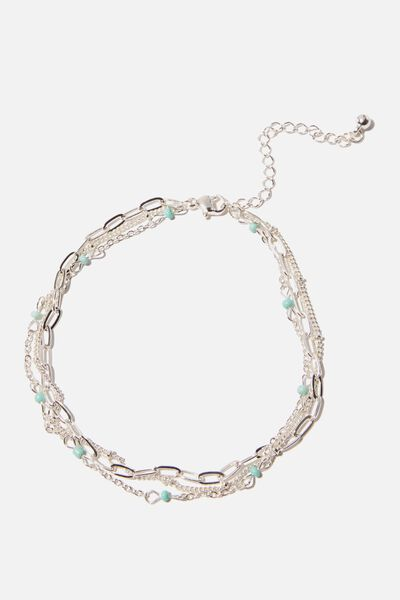 Holiday Charms Anklet, SILVER STAR MOON