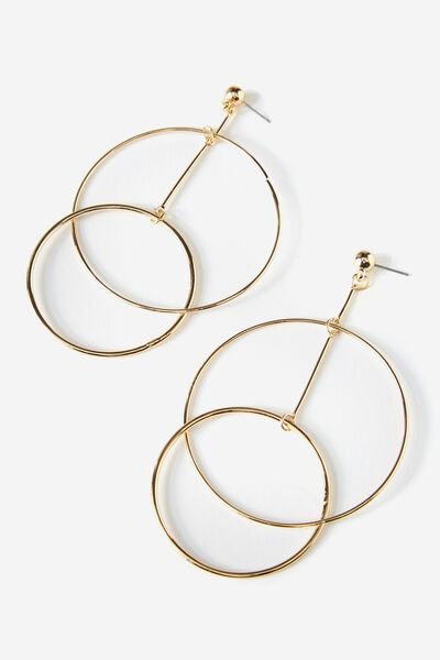 Triple Ring Earring, GOLD