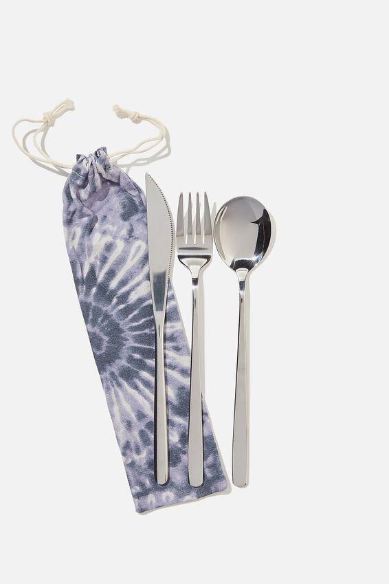 Reusable Cutlery Set, BLUE TIE DYE/SILVER
