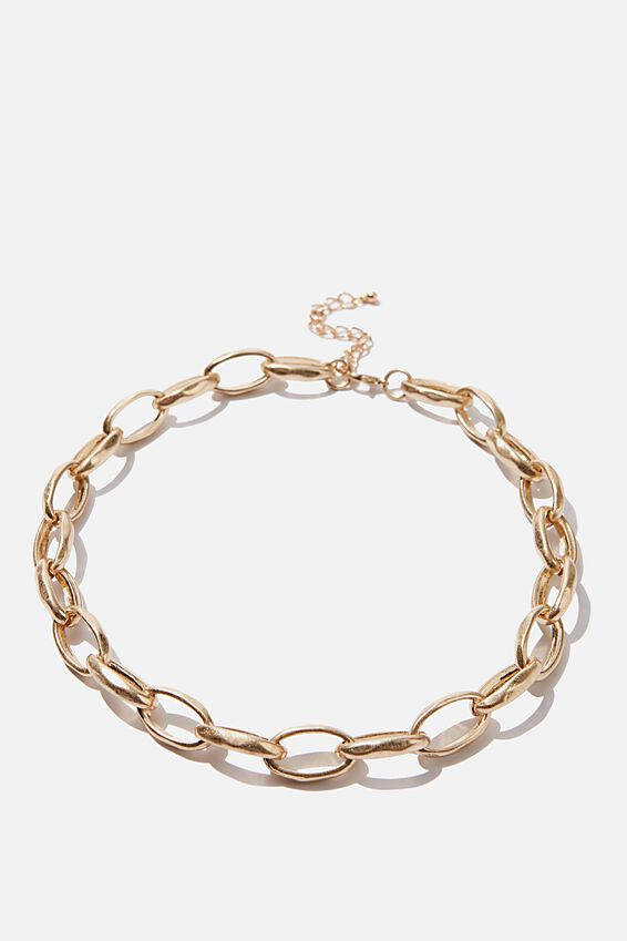 Chunky Open Link Treasures Necklace, GOLD