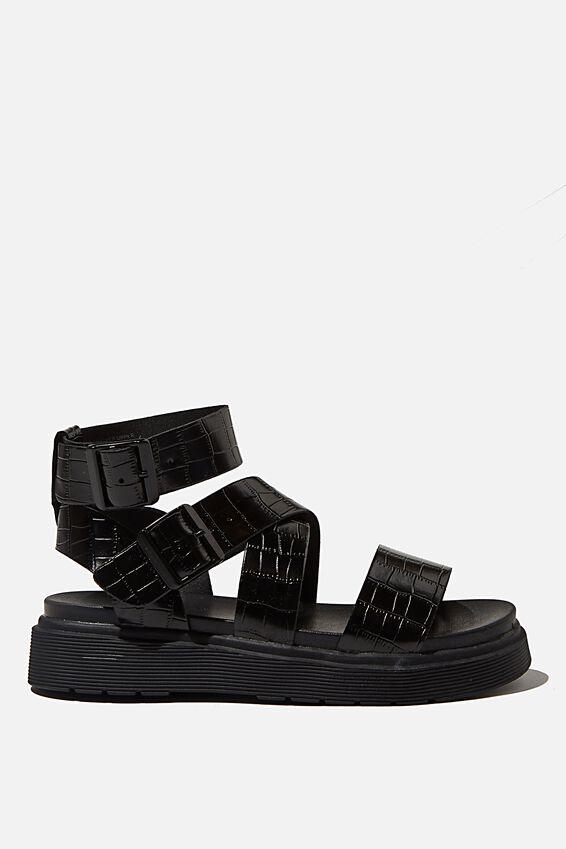 Gladiator Combat Sandal, BLACK CROC