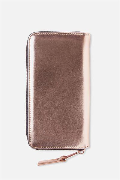 Audrey Zip Around Wallet, ROSE GOLD PU